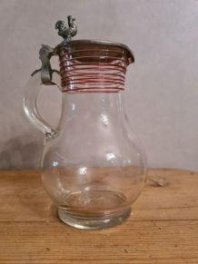 carafe verre soufflé couvercle étain motif coq