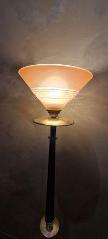 lampadaire avec abat jour art deco rose opaque 1920 electri