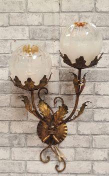 applique fleural vintage métal doré design italien 1960 mura