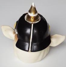 Moutardier cochon casque Prussien porcelaine biscuit