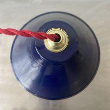 LOT 2 SUSPENSIONS INDUSTRIELLES EMAILLEES BLEUES 20 cm