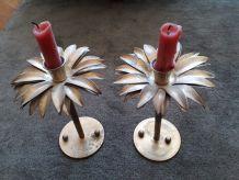 2 bougeoirs palmiers des années 50/60