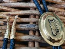 Collier cravate cowboy noir et doré cheval argiletz horse