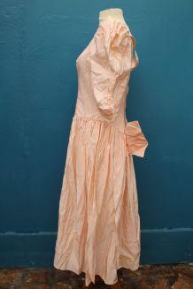 robe orange pale nœud style princesse année 70-80