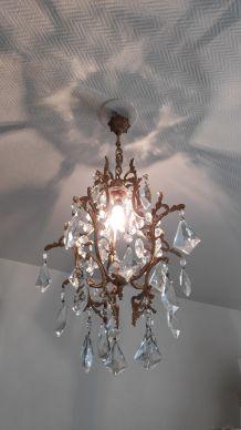 lustre cage bronze et pampilles en cristal