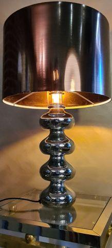 lampe a boules chromé type barbier deluxe  1980 abat jour st