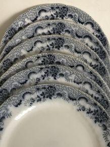6 assiettes plates - Badonviller FT / Modèle Colbert