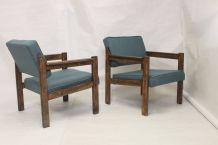 Paire de fauteuils en bois origine Pays de l'Est, années 70