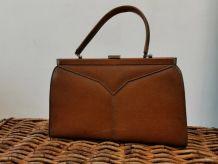 Ancien sac à main en cuir marron année 50-60
