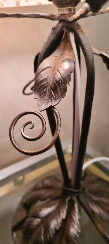 lampe  fer art déco abat jour  clichy rose, 1930 a 40      ,