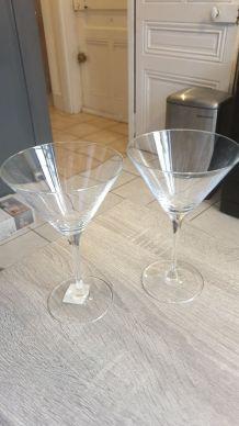 URGENT vente DEUX Verres à Martini 300ml, Cristallin, Transp