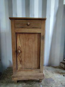 Table de chevet Nuit bois massif Tiroir porte ancienne