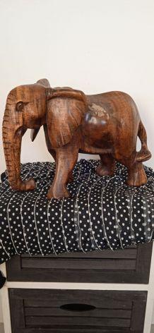 grande statuette éléphant en chêne