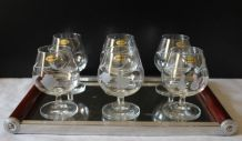 6 verres Cognac cristal gravé main