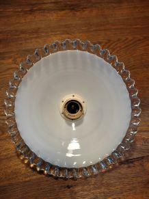 Suspension abat jour verre blanc Dentelle ancienne vintage 3