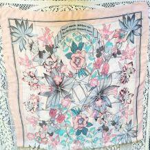 Foulard soie et viscose rose floral