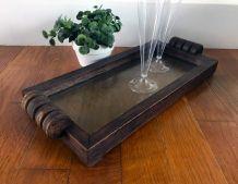 Plateau vintage style Art Deco bois et verre