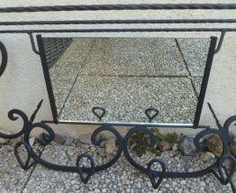 Vestiaire miroir Art déco 6 patères en fer forgé