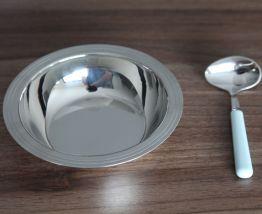 Assiette à bouilli et cuillère en inox