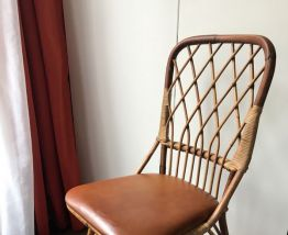 Chaise vintage en rotin 70s