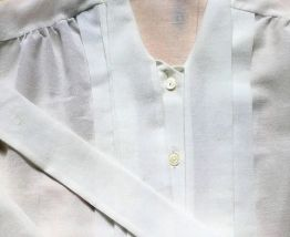 Louise - Chemisier vintage blanc transparent col lavallière