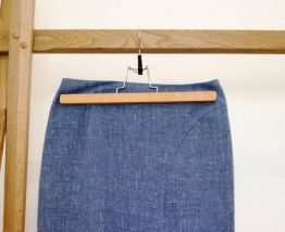Paulette - jupe longue vintage en laine bleu chiné fendue
