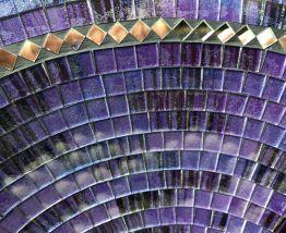 Grand plat de mosaïques rond bleu