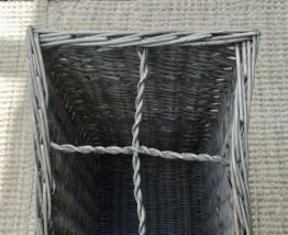 Porte-parapluie rotin cérusé gris