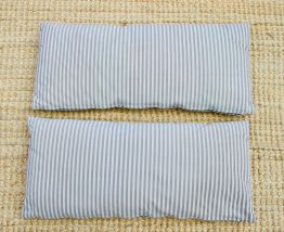 2 coussins rectangulaires rayures noires et beiges