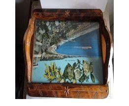 plateau bois  décors gravés et laiton poignées  décor NICE