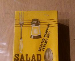 Ensemble à salade céramique et bois