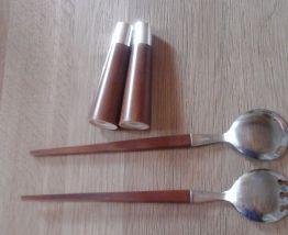 Couverts à salade bois et métal