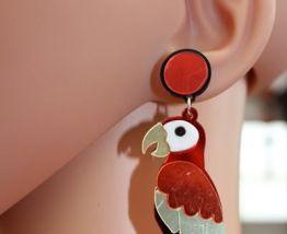 Boucle d'oreilles perroquet  vintage /retro