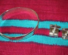 lot bracelet  effet argente + bouton de manchette