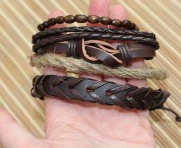 lot bracelets homme cuir bois