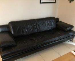 Canapé en cuir noir 220 cm
