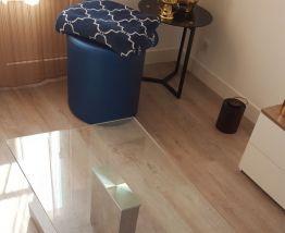 Table basse en verre imitation béton