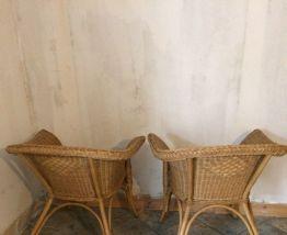 Paires de fauteuils en rotin