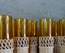 Service à orangeade verre + carafe entourage osier