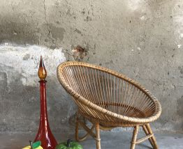 Fauteuil en rotin rond vintage