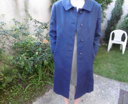 Manteau vintage bleu en lainage années 50/60
