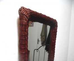 miroir ancien  en osier  foncé