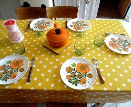 cinq assiettes vintages tefal