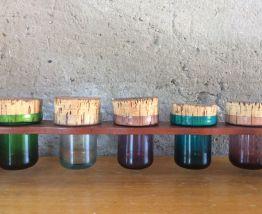 Série de pots à épices, support en bois, scandinave, 1960