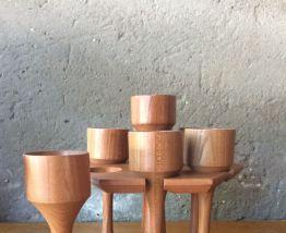 Présentoir 7 coquetiers en bois vintage