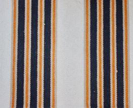 Tapis coton écru rayures noires et orange