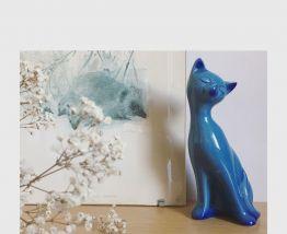 Céramique chat bleu