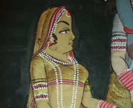 Rare. Peinture indienne Krishna peinte à la main sur tissu