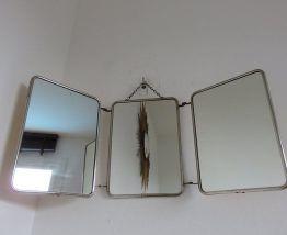 Miroir de barbier triptyque années 50 60
