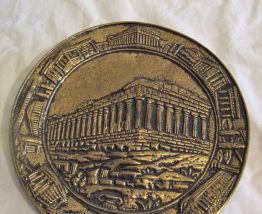Assiette décorative bronze murale Parthénon
